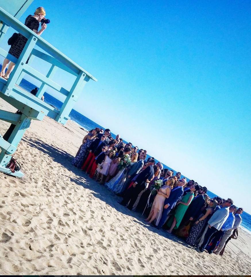beach wedding group shot