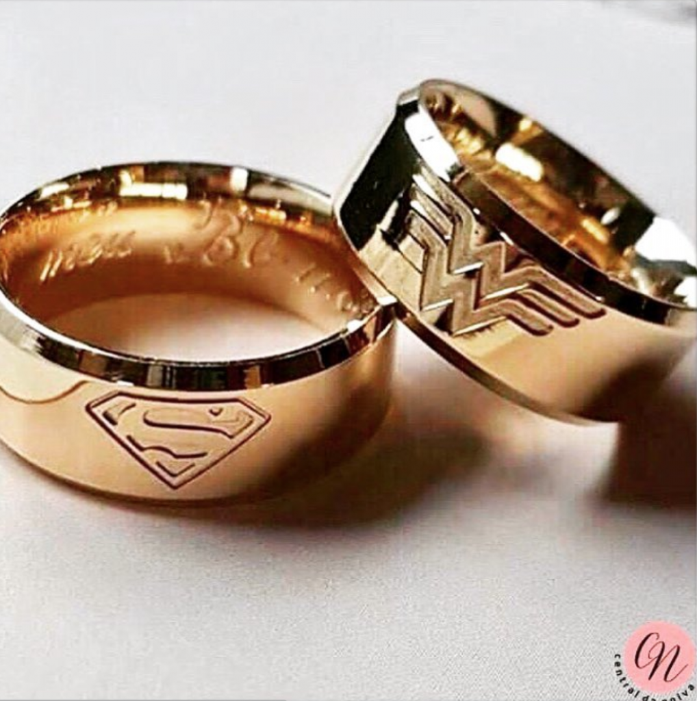 superman wonderwoman wedding ring