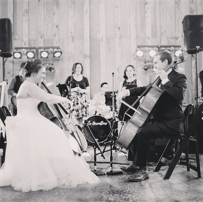 Bride and groom playing